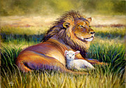 Lion Lamb Posters - The Kingdom of Heaven Poster by Susan Jenkins
