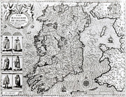 Illustrated Drawings Framed Prints - The Kingdom of Ireland Framed Print by Jodocus Hondius