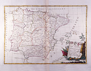 Antique Map Digital Art - The Kingdom Of Spain And Portugal Divided by Fototeca Storica Nazionale