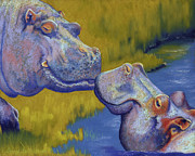 Water Pastels Framed Prints - The Kiss - Hippos Framed Print by Tracy L Teeter