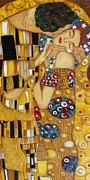Original Oil Portrait Posters - The Kiss After Gustav Klimt Poster by Darlene Keeffe