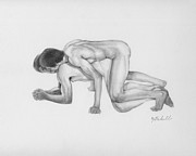 Sexual Intercourse Drawings - The Kiss by Albert Notarbartolo