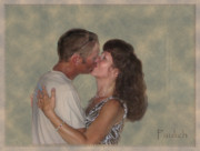 Couple Kissing Posters - The Kiss Poster by Christine Belt