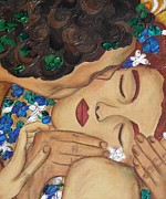 Art Deco Painting Framed Prints - The Kiss Close Up Framed Print by Darlene Keeffe