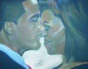 Barrack Obama Pastels Posters - The Kiss Poster by Kevin Harris