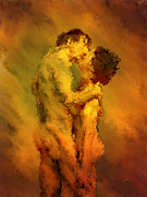 Loving Digital Art Prints - The Kiss Print by Kurt Van Wagner