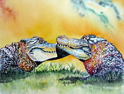 Alligator Paintings - The Kiss by Maria Barry
