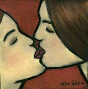 Red Lips Pastels Prints - The Kiss Print by Natalie Roberts
