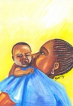 Senegal Posters - The Kiss of A Mother in Senegal Poster by Emmanuel Baliyanga