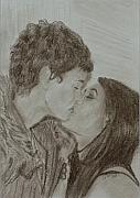 Kiss Drawings - The Kiss by Quwatha Valentine
