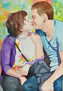 Young Love Painting Originals - The Kiss by Terry Arroyo Mulrooney