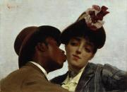 Negro Painting Prints - The Kiss Print by Theodore Jacques Ralli
