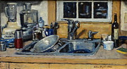 Water Jars Painting Metal Prints - The Kitchen Sink Metal Print by Thor Wickstrom