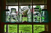 Mason Jars Posters - The kitchen window Poster by Paul Ward