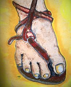 Christ Pastels Prints - The Knot In His Sandal Print by Theresa Johnson