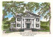 Florida House Drawings Posters - The Knott House Circa 1843 Poster by Audrey Peaty