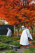 Sculpture Greeting Cards Framed Prints - The Korean War Memorial in Autumn Framed Print by Steven Ainsworth