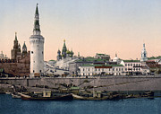Moscow Framed Prints - The Kremlin towards the Place rouge in Moscow - Russia - ca 1900 Framed Print by International  Images