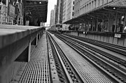 Chicago Black White Metal Prints - The L Metal Print by Art Kardashian