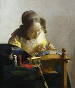 Working Painting Framed Prints - The Lacemaker Framed Print by Jan Vermeer