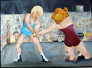 Wrestling Painting Originals - The Ladies by Rita Welegala