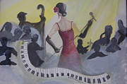 Microphone Stand Prints - The Lady and Jazz Print by Janna Columbus