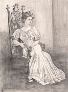 Chair Drawings - The Lady in Waiting by Beverly Marshall