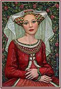 Red Flowers Reliefs - The Lady Mae   Bas Relief Miniature by Jane Bucci