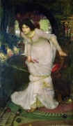 Glass Paintings - The Lady of Shalott by John William Waterhouse