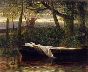 Silk Paintings - The Lady of Shalott by Walter Crane