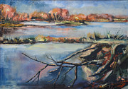 Po-po Paintings - The lagoon -  La golena by Gabriella Dumas