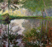 Reflecting Trees Paintings - The Lake at Montgeron by Claude Monet
