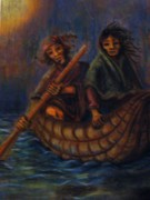Canoe Pastels Prints - The Lake Crossing Print by Jose Luis Rioja