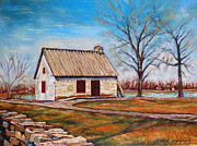 Historical Buildings Paintings - The Lake House by Carole Spandau
