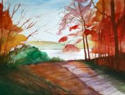 Fall Photographs Painting Acrylic Prints - The Lake Road Acrylic Print by Julie Lueders