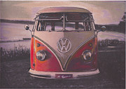 Historic Vehicle Pastels Prints - The lakes Print by Sharon Poulton