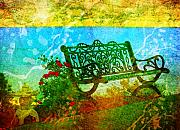 Yellow Paint Framed Prints - The Lakeview Bench Framed Print by Tara Turner