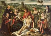 Virgin Mary Paintings - The Lamentation of Christ by Joos van Cleve