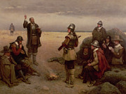 Round Painting Framed Prints - The Landing of the Pilgrim Fathers Framed Print by George Henry Boughton