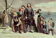 New England. Prints - The Landing of the Pilgrims at Plymouth Print by Currier and Ives