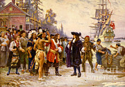 Colonial Man Posters - The Landing Of William Penn, 1682 Poster by Photo Researchers