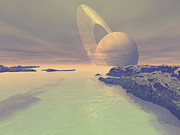 Flares Posters - The Landscape Of Titan, One Of Saturns Poster by Corey Ford