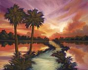 Palmetto Trees Prints - The Lane Ahead Print by James Christopher Hill