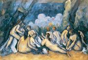 Large Women Framed Prints - The Large Bathers Framed Print by Paul Cezanne