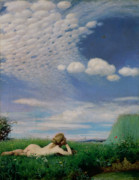 Sunbathing Metal Prints - The Lark Metal Print by Pal Szinyei Merse