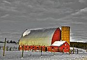Snow Artwork Mixed Media Prints - The last barn Print by Robert Pearson