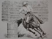Racer Drawings Posters - The Last Barrel Poster by Tammy  Taylor