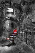 Horror Illustration Prints - The Last Cut- Barber Chair - Eastern State Penitentiary Print by Lee Dos Santos
