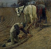 Brown Horse Prints - The Last Furrow Print by Henry Herbert La Thangue
