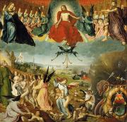 Christ Painting Posters - The Last Judgement Poster by Jan II Provost